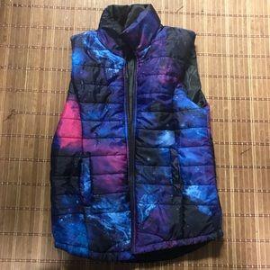 Galaxy print puffed winter vest